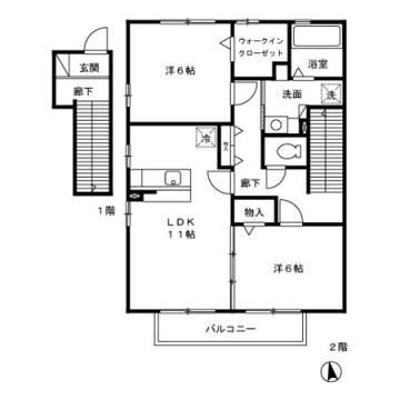 物件番号: 1110302914  富山市経田 2LDK アパート 間取り図