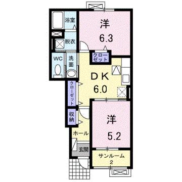 物件番号: 1110302990 ハッピーフィールドつばき館  富山市本郷町 2DK アパート 間取り図