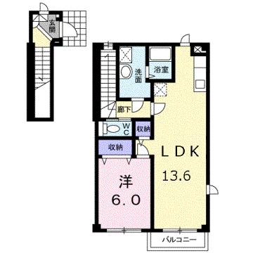 物件番号: 1110303120 グランディール  富山市山室荒屋 1LDK アパート 間取り図