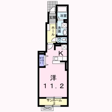 物件番号: 1110303160 サニーⅠ  富山市常盤台 1K アパート 間取り図