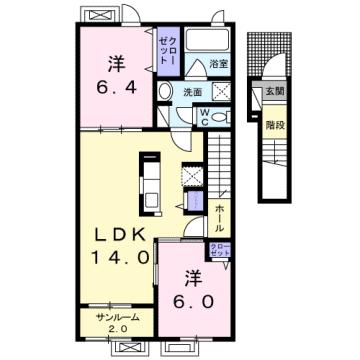 物件番号: 1110303344 アルモニーA  富山市赤田 2LDK アパート 間取り図