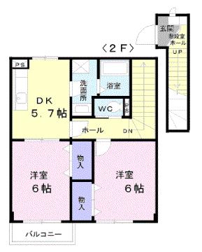 物件番号: 1110303386 アルティ・プラーノⅠ  富山市有沢 2DK アパート 間取り図