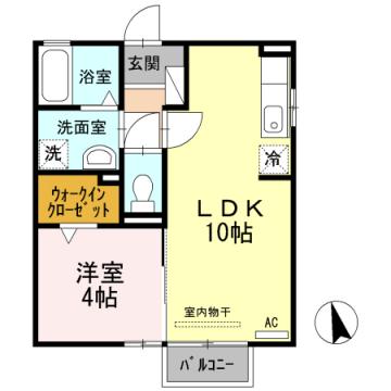 物件番号: 1110303502 グランモア愛宕Ⅱ  富山市愛宕町1丁目 1LDK アパート 間取り図