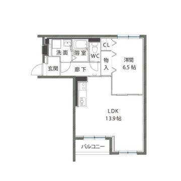 物件番号: 1110303551 ハートフルマンションIris  富山市上袋 1LDK マンション 間取り図