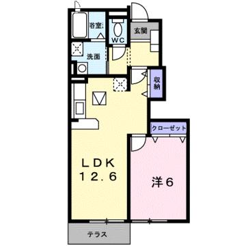 物件番号: 1110303569 エアリーガーデン  富山市有沢 1LDK アパート 間取り図