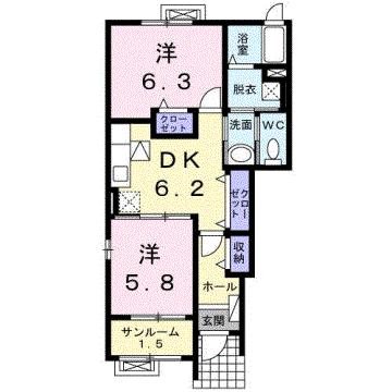 物件番号: 1110303578 カーサ・ブローテⅠ  富山市婦中町麦島 2DK アパート 間取り図