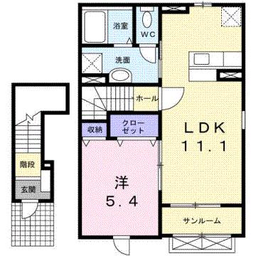 物件番号: 1110303595 サンパティック町村  富山市町村 1LDK アパート 間取り図