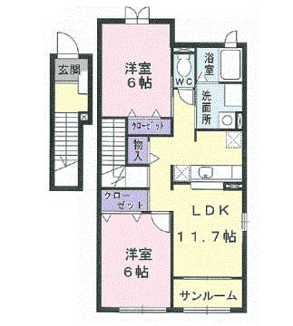 物件番号: 1110303596 シエーネ  富山市藤木 2LDK アパート 間取り図
