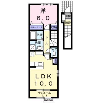 物件番号: 1110303651 ゼファーⅤ  富山市上大久保 1LDK アパート 間取り図