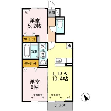 物件番号: 1110303690 フェリーチェ  富山市経堂4丁目 2LDK アパート 間取り図