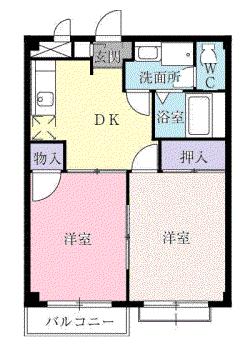 物件番号: 1110303818 ビレッヂ・アイ  富山市綾田町1丁目 2DK アパート 間取り図