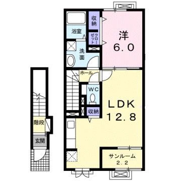 物件番号: 1110303897 エトワール八尾Ⅳ  富山市八尾町福島7丁目 1LDK アパート 間取り図