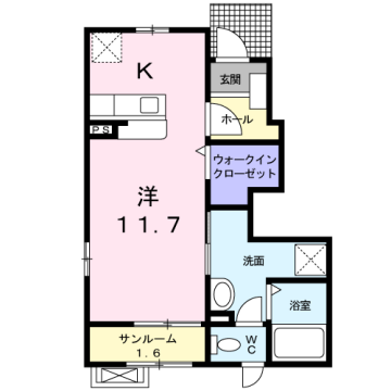 物件番号: 1110303989 ニューシティ下堀Ⅰ  富山市下堀 1K アパート 間取り図