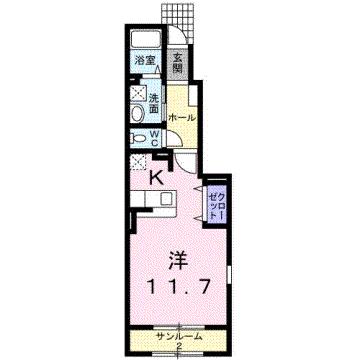 物件番号: 1110304060 ウエスト・モンテローザ  富山市太郎丸西町1丁目 1K アパート 間取り図