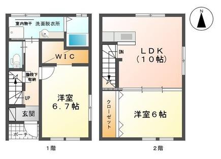 物件番号: 1110304215 スカイスクエア  富山市西荒屋 2LDK テラスハウス 間取り図
