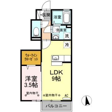 物件番号: 1110304268 D-room本郷町  富山市本郷町 1LDK アパート 間取り図