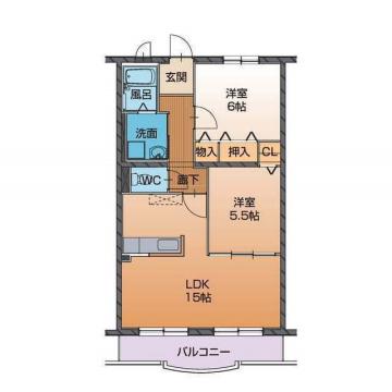 物件番号: 1110304386 ハートフルタウン桜  富山市山室 2LDK マンション 間取り図