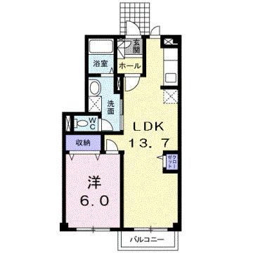 物件番号: 1110304540 エトワール八尾  富山市八尾町福島4丁目 1LDK アパート 間取り図