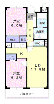 物件番号: 1110304635 プロスペリティ  富山市萩原 2LDK マンション 間取り図