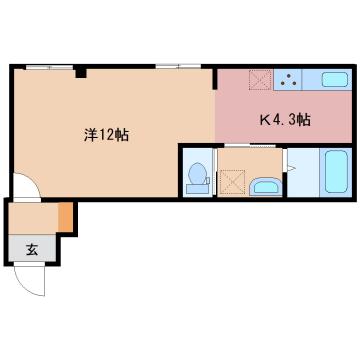 物件番号: 1110304741 センターガーデン  富山市新庄町3丁目 1R アパート 間取り図