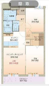 物件番号: 1110304768 アルカンシエル  富山市赤田 2LDK マンション 間取り図