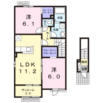 物件番号: 1110304774 グランMIKI常盤台Ⅱ  富山市常盤台 2LDK アパート 間取り図