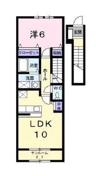 物件番号: 1110304810 ドゥ・ステージア  富山市藤木 1LDK アパート 間取り図