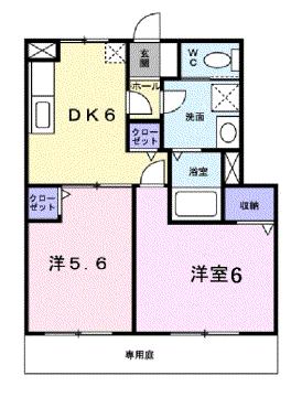 物件番号: 1110304902 クワット  富山市上大久保 2DK アパート 間取り図