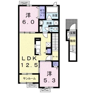 物件番号: 1110304924 ソフィアD  富山市本郷町 2LDK アパート 間取り図