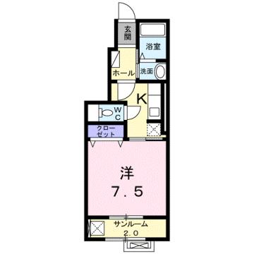 物件番号: 1110305153 エルドラードⅡ  富山市赤田 1K アパート 間取り図
