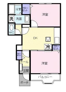 物件番号: 1110305535 アルティプラーノV  富山市有沢 2DK アパート 間取り図