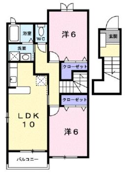 物件番号: 1110305715 サラール  富山市婦中町長沢 2LDK アパート 間取り図