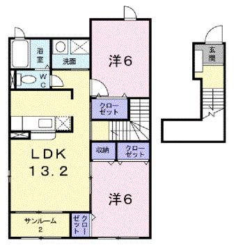 物件番号: 1110305766 ノワ・ド・ココB  富山市本郷町 2LDK アパート 間取り図