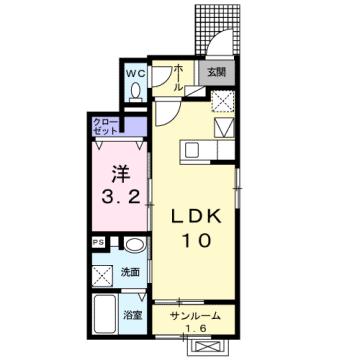 物件番号: 1110305784 エトワール八尾Ⅴ  富山市八尾町福島 1LDK アパート 間取り図