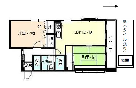 物件番号: 1110305802 ベルクレエ長江  富山市長江5丁目 2LDK アパート 間取り図