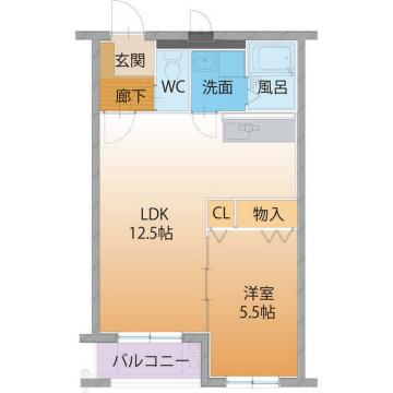 物件番号: 1110305878 ハートフルコパンはやし  富山市才覚寺 1LDK マンション 間取り図