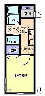 物件番号: 1110305996 信開セルーラ寺町  富山市寺町 1K アパート 間取り図