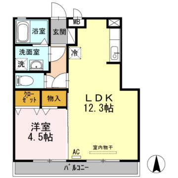 物件番号: 1110306111 メゾンドレッセ  富山市黒瀬 1LDK アパート 間取り図