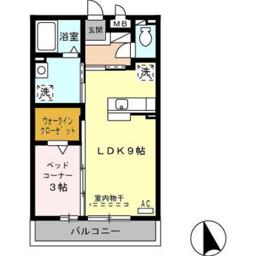 物件番号: 1110306120 D-Room中川原  富山市中川原新町 1LDK アパート 間取り図