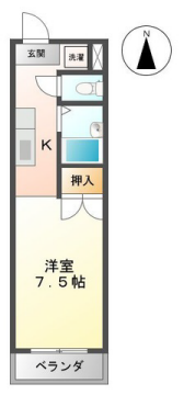 物件番号: 1110306185 フォレスト21  富山市森3丁目 1K アパート 間取り図