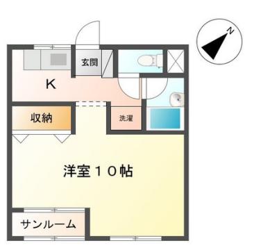 物件番号: 1110306186 メゾンひまわり  富山市上冨居2丁目 1K マンション 間取り図