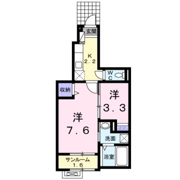 物件番号: 1110306427 サニースクエアB  富山市新庄北町 1K アパート 間取り図