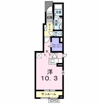 物件番号: 1110306430 シエル ブルー  富山市向新庄町3丁目 1K アパート 間取り図