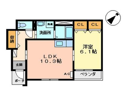 物件番号: 1110306464 ビバーチェ窪新町  富山市窪新町 1LDK アパート 間取り図