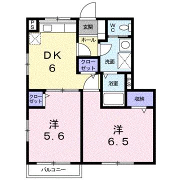 物件番号: 1110306509 ベリーテ  富山市八尾町井田 2DK アパート 間取り図