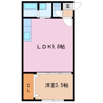 物件番号: 1110306574 センターガーデン  富山市新庄町3丁目 1LDK アパート 間取り図