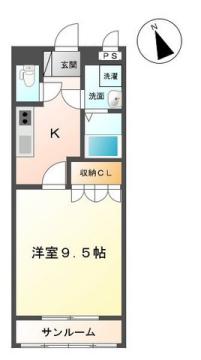 物件番号: 1110306604 プランドール  富山市萩原 1K アパート 間取り図