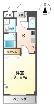 物件番号: 1110306610 Lyric apartment  富山市久方町 1K アパート 間取り図