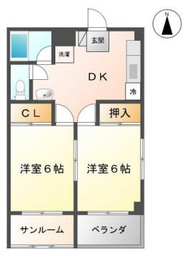 物件番号: 1110306612 メゾン・ド・ティファニー  富山市蓮町5丁目 2DK アパート 間取り図
