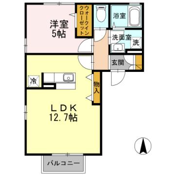 物件番号: 1110306657 リシェス・オカザキⅤ  富山市黒崎 1LDK アパート 間取り図